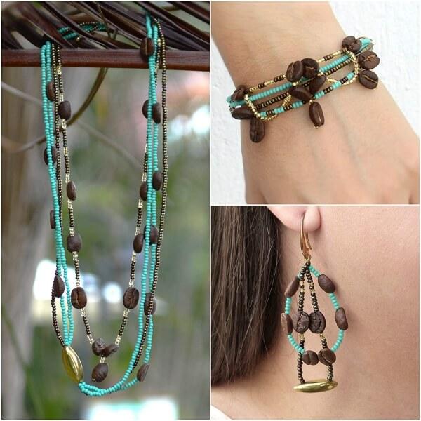 coffee bean jewelry set