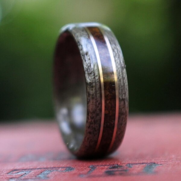 weathered maple and coffee bean inlay ring