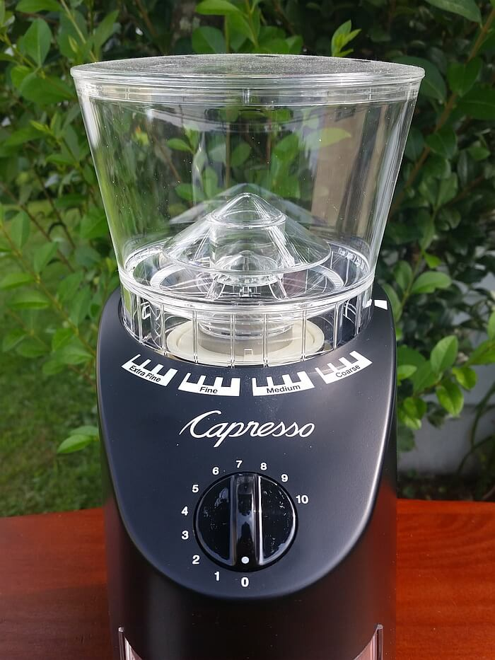 front view of capresso infinity coffee bean grinder