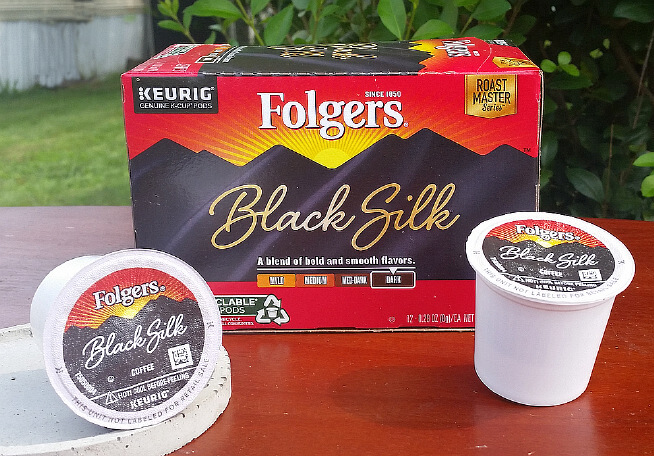 folgers black silk k cups and box on table