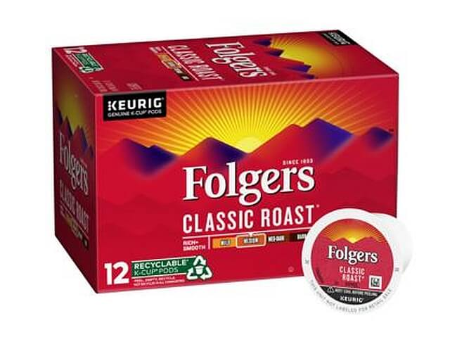 folgers classic flavor k cups and box