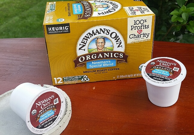 newman's own special blend k-cup coffee and box