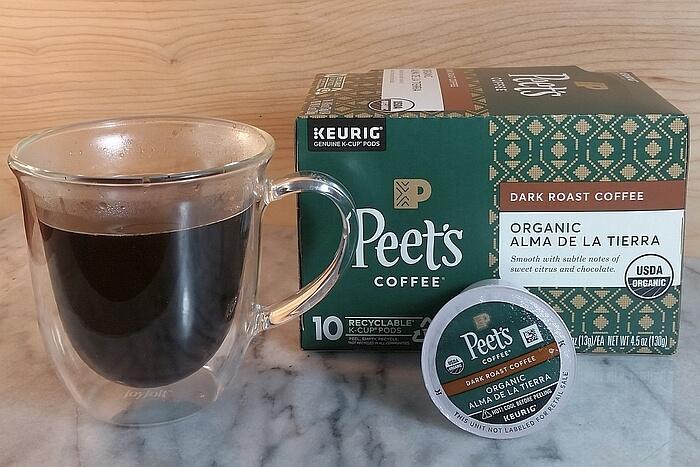 peets-organic alma de la tierra kcup coffee, box and cup