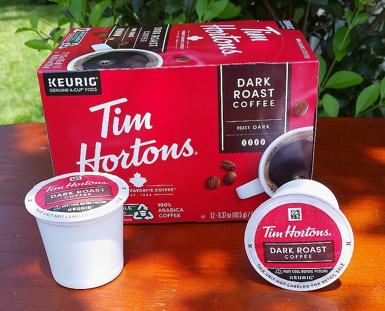 Tim Hortons dark roast coffee k cups and box
